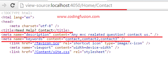 Dynamically add meta tags in Asp .Net MVC