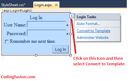 Styling asp net login control with custom css and html for Login page in asp net template